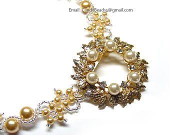 Collar Swarovski, oro, perlas y perlas collar de diamantes de imitación de oro por CandyBead de la chispa