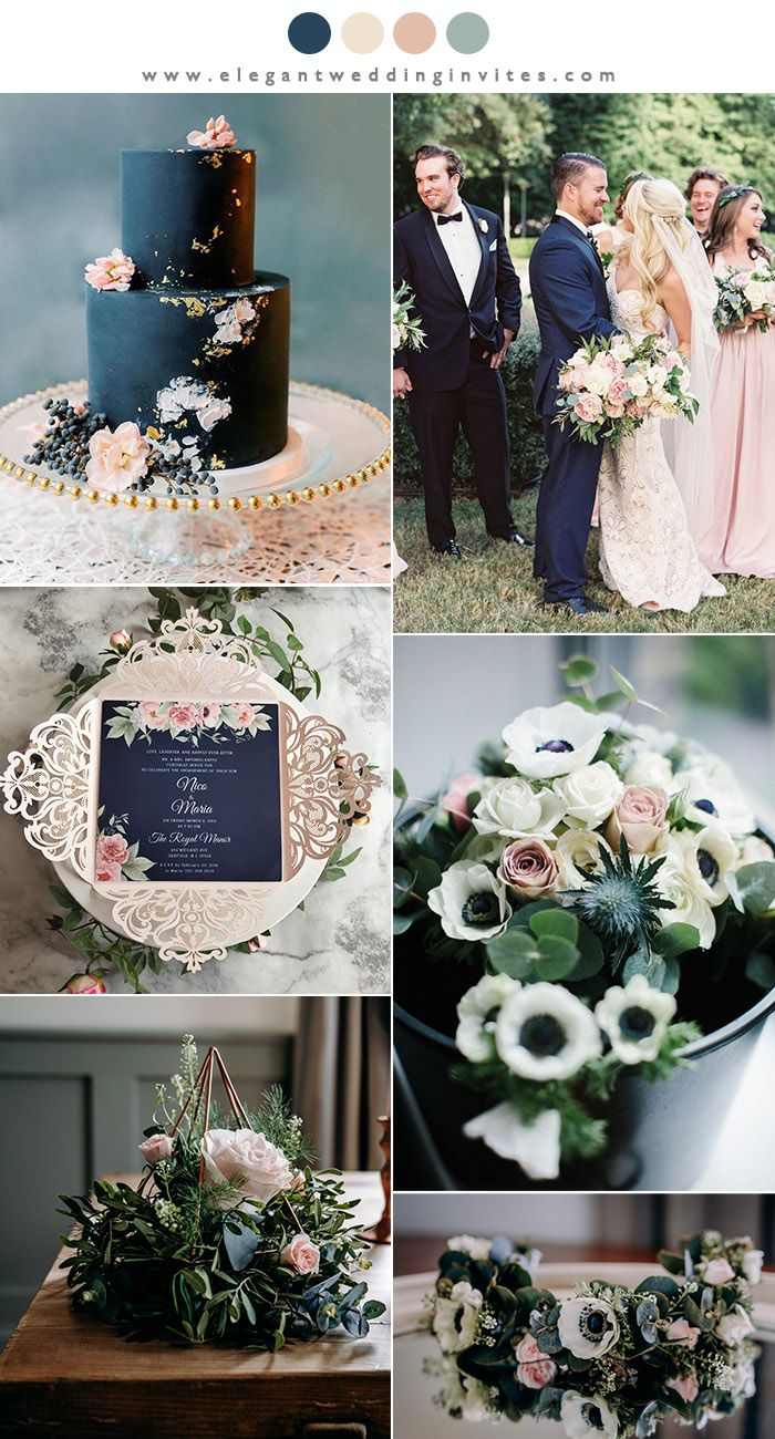 Classic Wedding Colors Ideas Navy Blue and Blush June