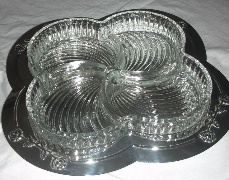 Vintage Large Godinger Silver Plate Tray w/Roses \u0026 4 Part Swirl Crystal Insert # & 7 best Vintage Silver Plate Trays images on Pinterest   Serving ...
