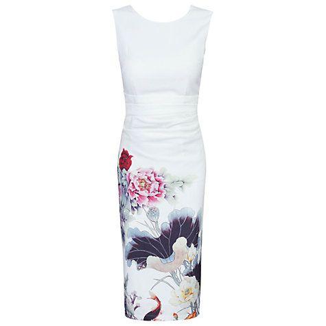 Buy Jolie Moi Oriental Floral Print Shift Dress, Beige Online at johnlewis.com