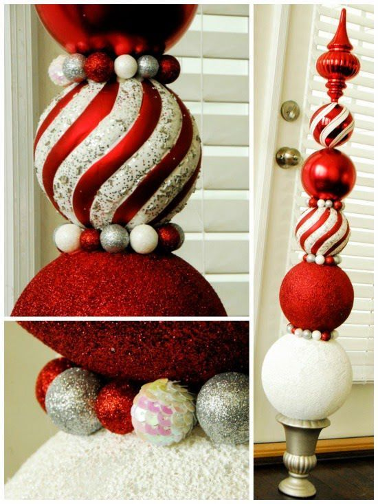 Christmas Ornament Topiary- Tutorial - SWEET HAUTE #Christmas #decor #crafts #idea #diy #project #decorations #outdoor #ornament #topiary #craft #ideas