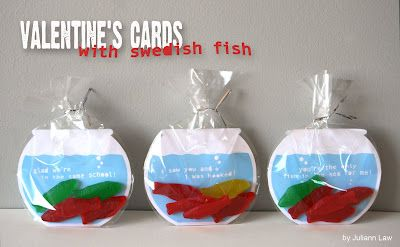 These are adorable, but I am such a germ freak that I don't think I could eat these.: Valentines Ideas, Swedish Fish, Valentinesday, Valentines Cards, Fish Bowls, Valentines Day Cards, Kid, Fish Valentines, The Sea