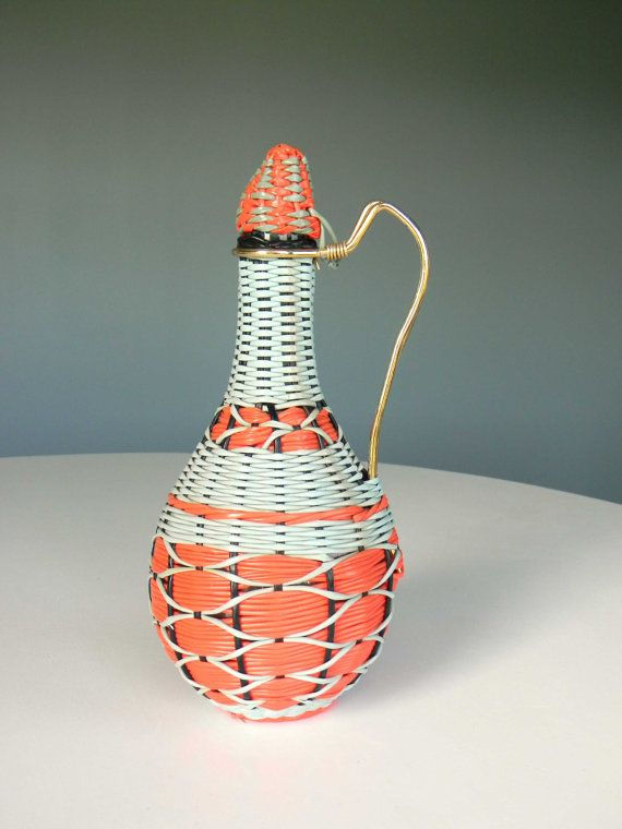 Vintage Viresa Decanter Bottle Pitcher Glass Cord Wicker Wrap Woven