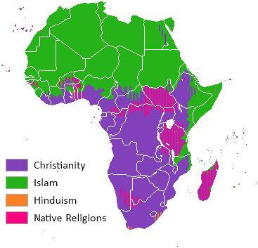 La religión más extendida en África es la cristiana, con un número similar de católicos y protestantes (dominan unos u otros en función de la potencia europea que colonizó el territorio), tras la c...