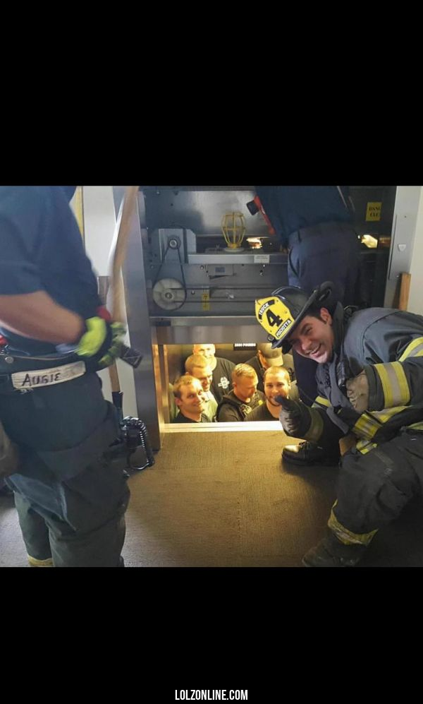 Kansas City fire department saves Kansas City police department from elevator.#funny #lol #lolzonline