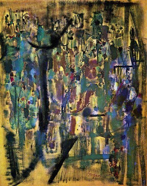 Ocraneil, 1955 by Camille Bryen. Tachisme. abstract. Musée des Beaux-Arts de Nantes, Nantes, France