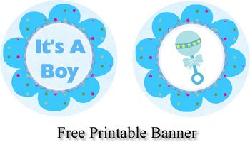 Free Printable Blue Baby Shower Banner and Cupcake Toppers