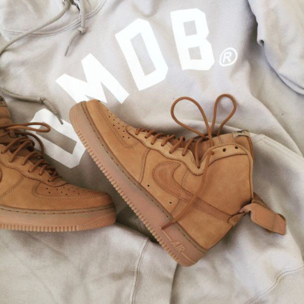 Shoes: nike air max jordan nike air force nike air force 1 mid brown beige