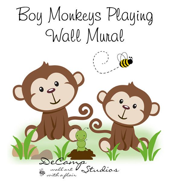 Monkeys Wall Mural Art Decal for baby jungle nursery or children's cute safari animals room decor. This adorable mural of two baby monkeys playing together #decampstudios