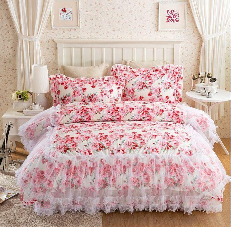 4Pcs Home Cotton Floral Lace Bedroom Cover Princess Sheet Quilt Pillow Case Z587