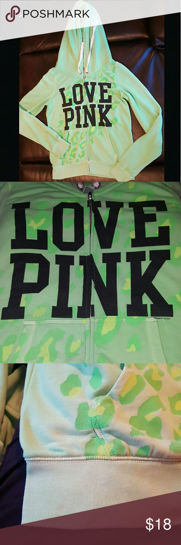 PINK ZIP-UP hoodie Lime green cheetah print PINK zip-up hoodie!  Size Large.  Worn very little!  There is a small faint stain along the hem that is not easily noticeable!(3rd image) The 2nd image best demonstrates the true color.  Firm on price PINK Victoria's Secret Sweaters