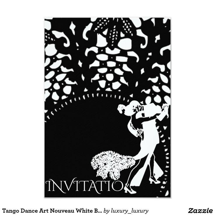 Tango Dance Art Nouveau White Black 9 Cm X 13 Cm Invitation Card