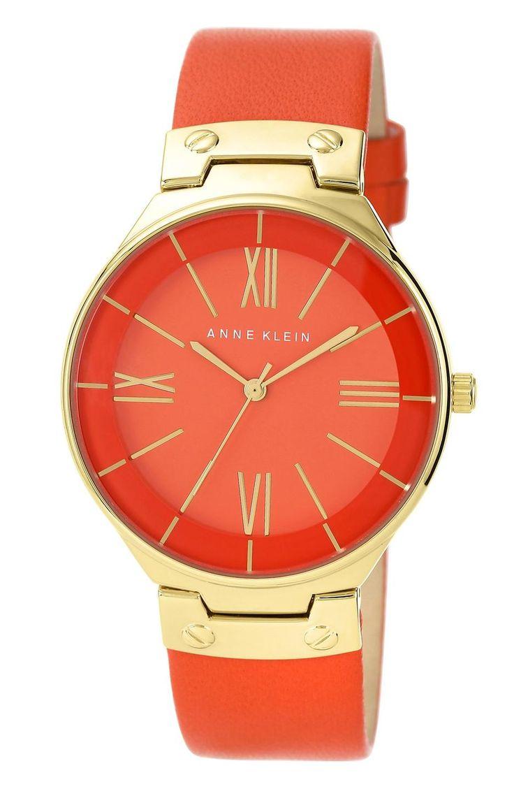 Ann Klein 38mm http://picvpic.com/women-watches/3719478-round-leather-strap-watch-38mm#orange~~gold