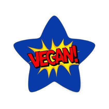 POP ART VEGAN STAR STICKER - vegan personalize diy customize unique