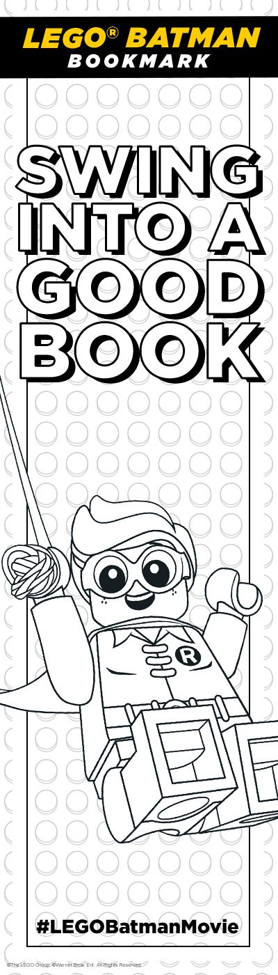 Color in this bookmark & use it when you read my autobiography. Extra points if you use only black & yellow. Click here to print! http://pdl.warnerbros.com/wbol/ww/movies/legobatman/pinterest/LEGB_ColoringBoard_Bookmark_Robin_v1.pdf | The LEGO® Batman Movie | In theaters now