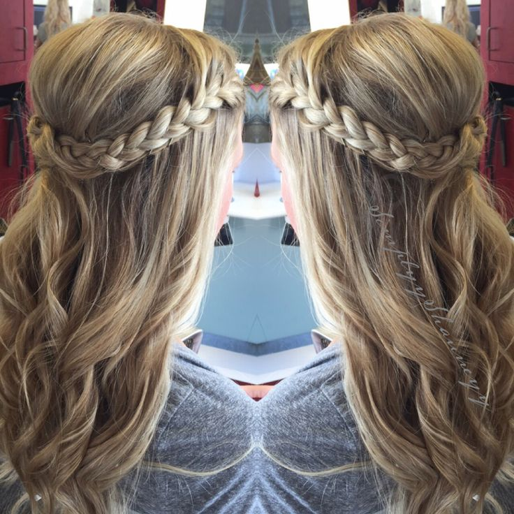 Updo . Braided updo , loose curls , long hair (With images ...