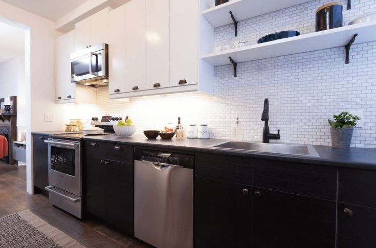 Black and White Galley Kitchen