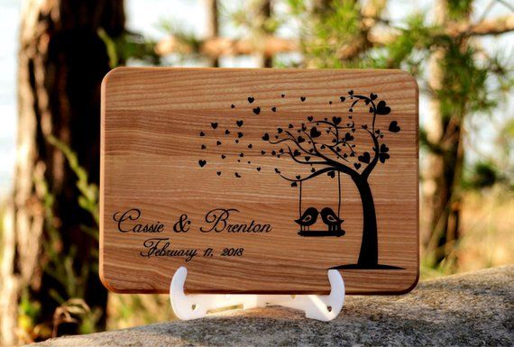 Wedding cutting board gift personalized wood cutting board,Anniversary gift,Custom wedding gift for couple, Birds Wooden cutting board gift
