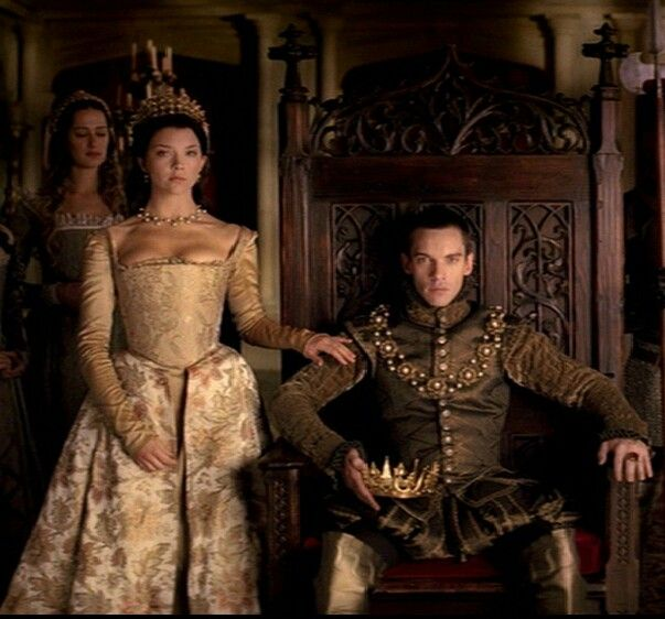 Natalie Dormer's Anne Boleyn beside Jonathan Rhys Meyers' Henry VIII on The Tudors