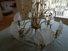 VTG ART DECO INSPIRED MODERN DINING ROOM CHANDELIER GLASS FROSTED SCALLOPS $40, $20 in shipping.