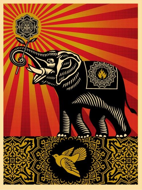 ☯☮ॐ American Hippie Psychedelic Art ~ OBEY Shepard Fairey street artist . . revolution OBEY style, street graffiti, illustration and design posters ~ Elephant