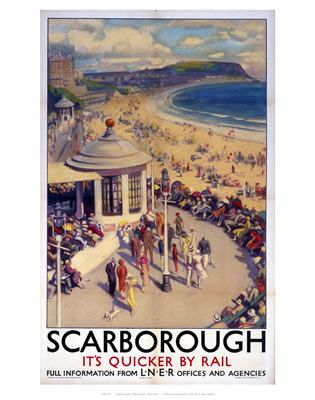 Scarborough its quicker by rail on VintageRailPosters.co.uk Prints