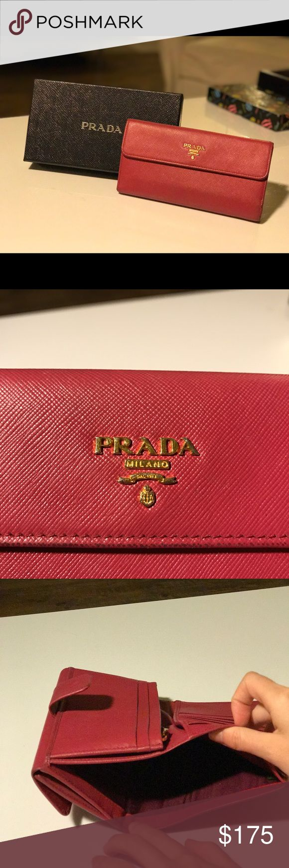 Prada Leather Long Flap Wallet Mildly used original Prada Cipria Saffiano Leather Long Flap Wallet selling for 50% off!! Original value $350, price tag and authenticity certificate card included. Prada Bags Wallets