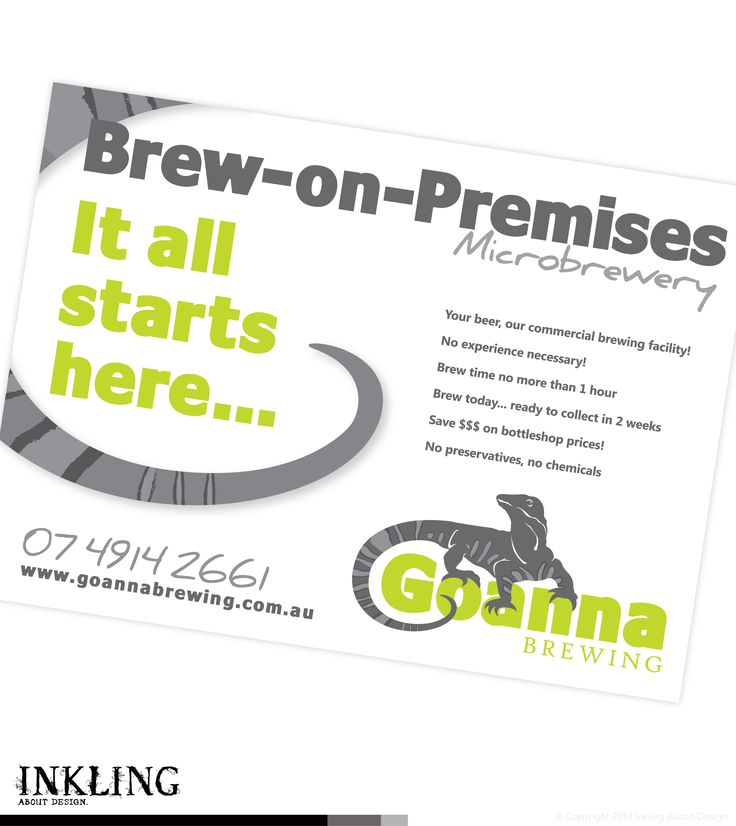 GOANNA BREWING advertisement design for placement in Industry Hub - by Inkling About Design www.inklingaboutdesign.com #graphicdesign #inkling #advertising #branding #Toowoomba #Queensland #Mackay #microbrewery
