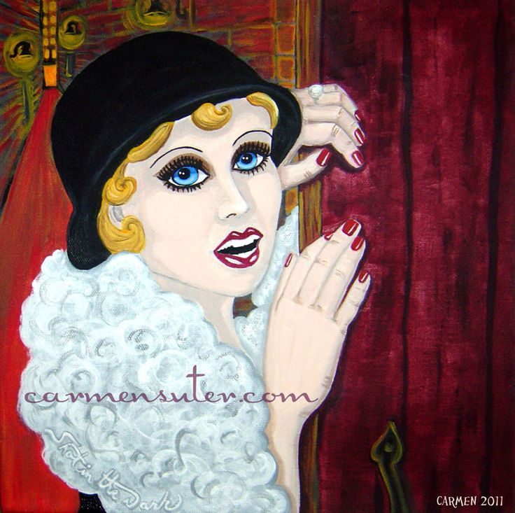 "Flapper Fanny Birchwood - 12""x12"" Acrylic on Canvas - Painting by Carmen Suter"