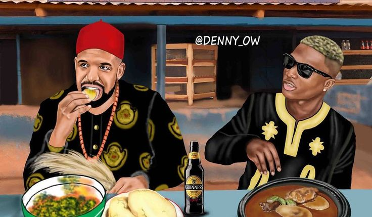 This Lovely Artwork of Drake and Wizkid Chilling Together will make Your Day.  Oluwa Drake showed up to eat eba and egusi but was a no show at Wizkid's video shoot huh . DRAKE RESPECT YOURSELF OOOOO