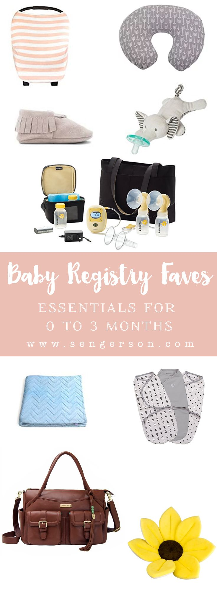 Essential baby registry items for 0 to 3 months.