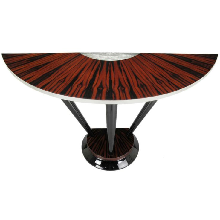 Macassar Ebony & Silver Leaf Art Deco Inspired Demilune Console Table | From a unique collection of antique and modern console tables at https://www.1stdibs.com/furniture/tables/console-tables/
