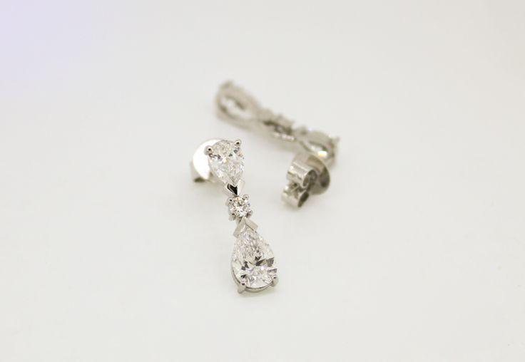 Wedding jewellery. Platinum and diamond earrings. Hand-made in Melbourne. Custom design.  #roseandcrownjewellers #wedding #diamond #earrings