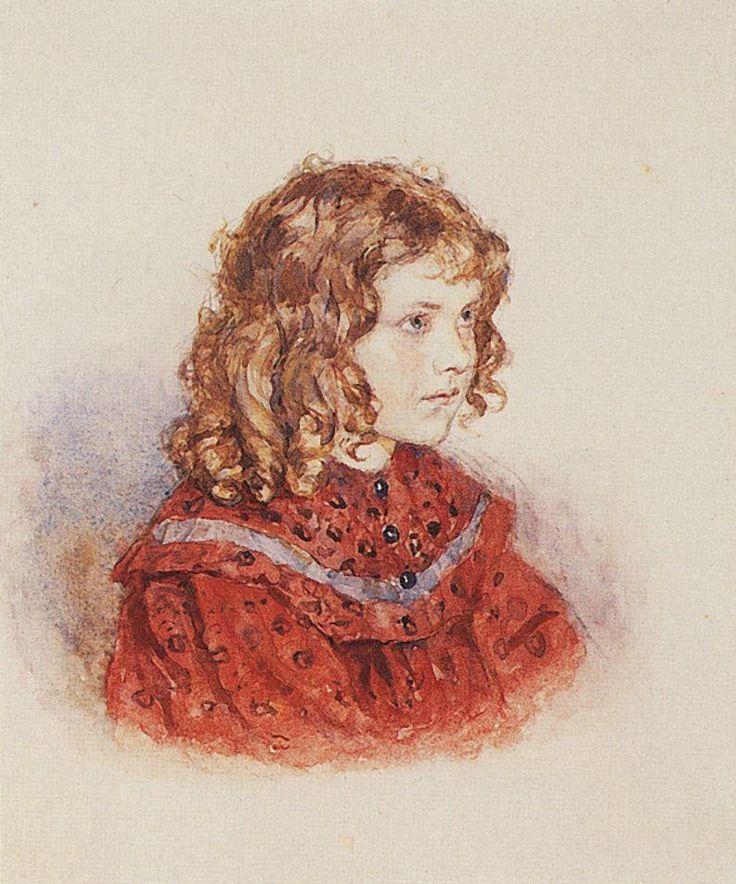 ребенок Василий Суриков. Галерея живописи. Портрет девочки в красном платье. Не позднее 1896