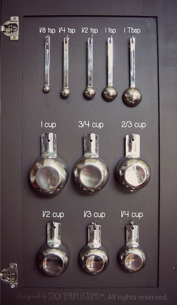Measuring Cup Spoon Organization Decal Stickers Inside Kitchen Cabinet Cupboard Baking Cooking