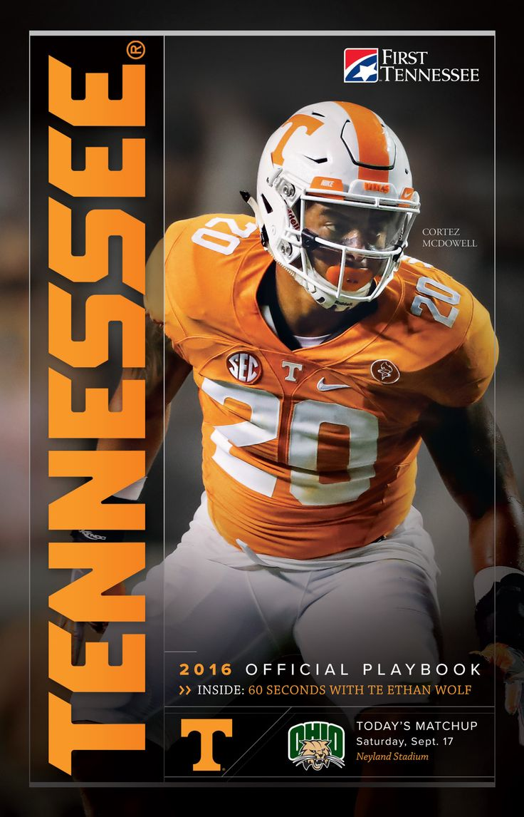 The 2016 @UTSports Football Playbook vs. Ohio highlights junior linebacker Cortez McDowell on the cover and includes a feature of tight end Ethan Wolf.