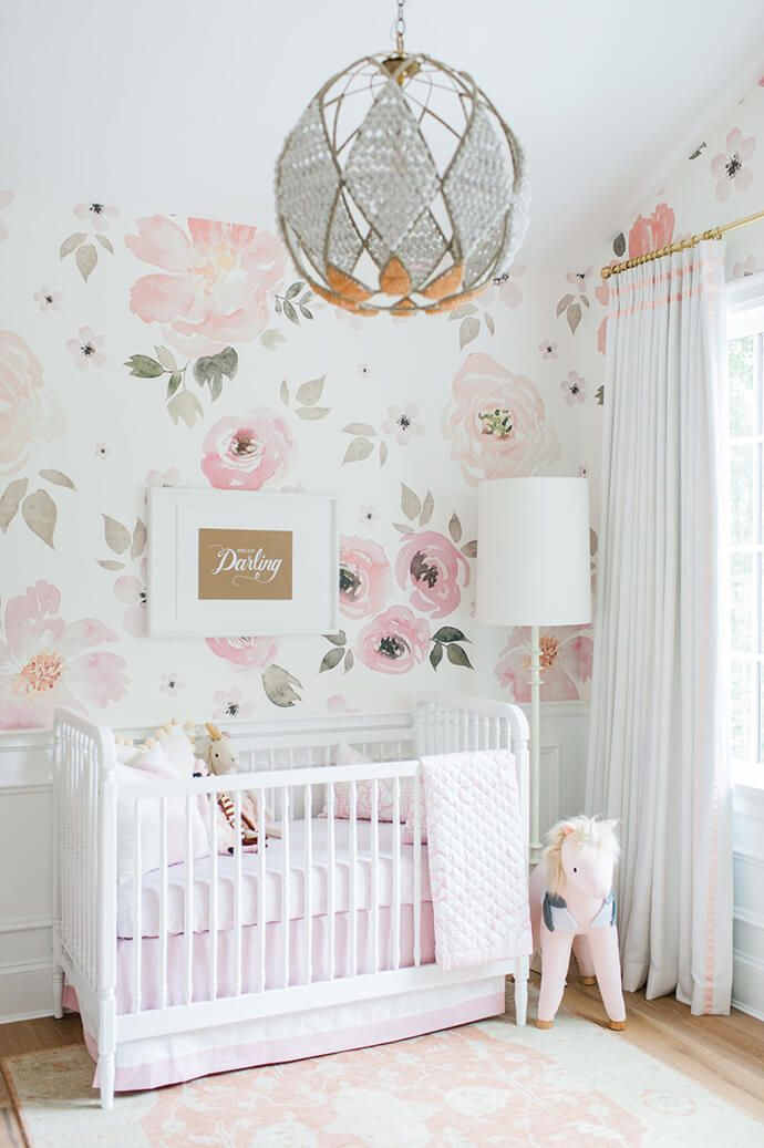 The large floral print wallpaper! Love!  Touring Monika Hibbs's Oh-So Sweet Blush Pink Nursery | Glitter Guide