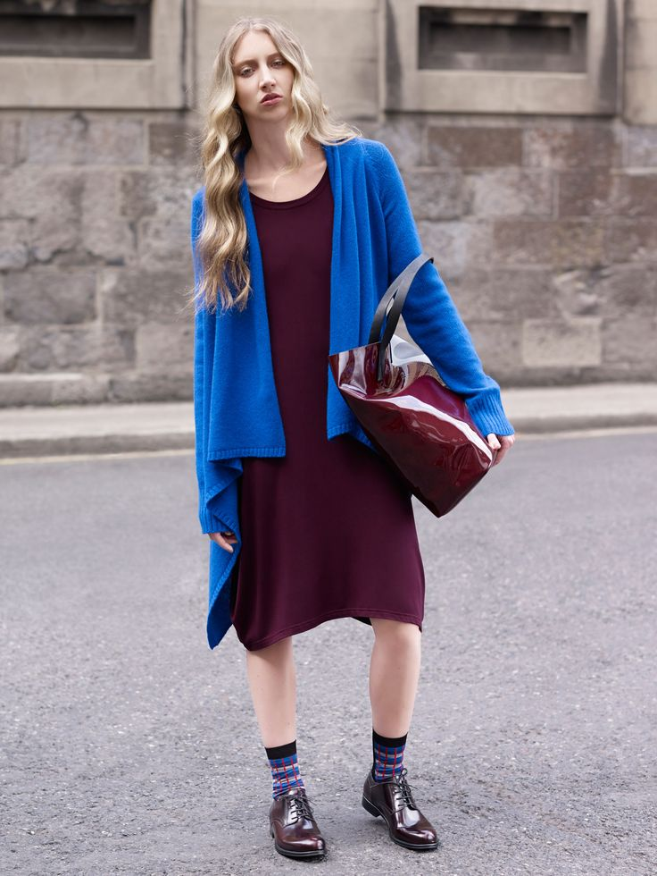 Burgundy jersey dress and blue angora-mix cardigan by Carolyn Donnelly The Edit