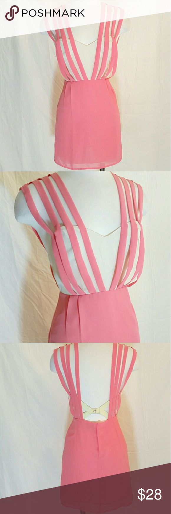 Neon Pink & Cream Party Dress Overall style, sweetheart front with strappy detal. Skirt lining and snap button back enclosure. Such a fun dress to wear! Petite girls, this dress is for you! Double In Brass Dresses Mini