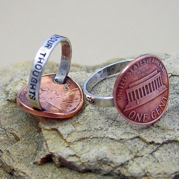 Penny For your thoughts: Thoughts Rings, Style, Pennies Rings, Cute Ideas, Jewelry, Cool Ideas, Things, Diy, Crafts