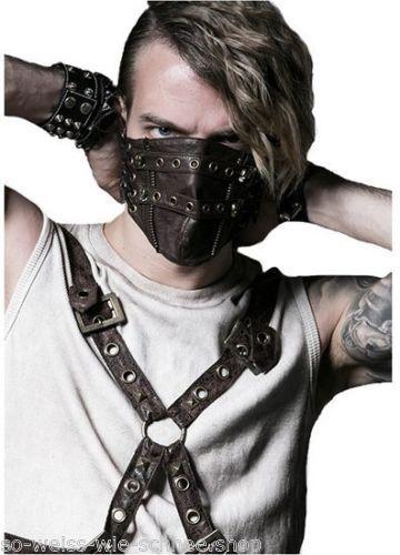 punk rave unisex steampunk maske kunst leder mundschutz pu. Black Bedroom Furniture Sets. Home Design Ideas