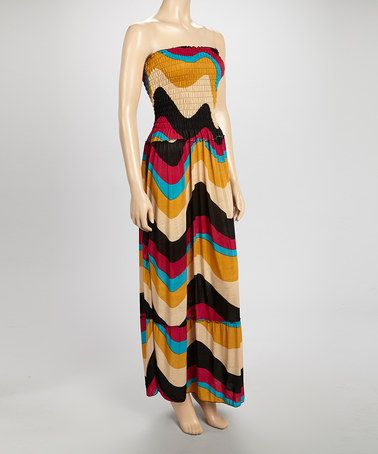 Look at this #zulilyfind! Pink & Gold Smock-Top Maxi Dress #zulilyfinds