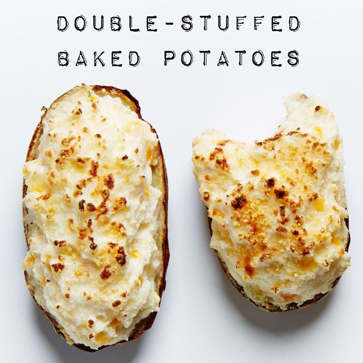 Cheesy, mile-high Double Stuffed Baked Potatoes recipe! #BiteMeMore