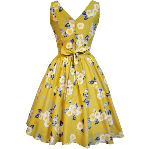 LADY VINTAGE HEPBURN TEA DRESS in 5 DIFFERENT PRINTS *50s ROCKABILLY*... ❤ liked on Polyvore featuring dresses, vintage print dress, tea party dresses, print dresses, yellow dress and vintage pattern dress