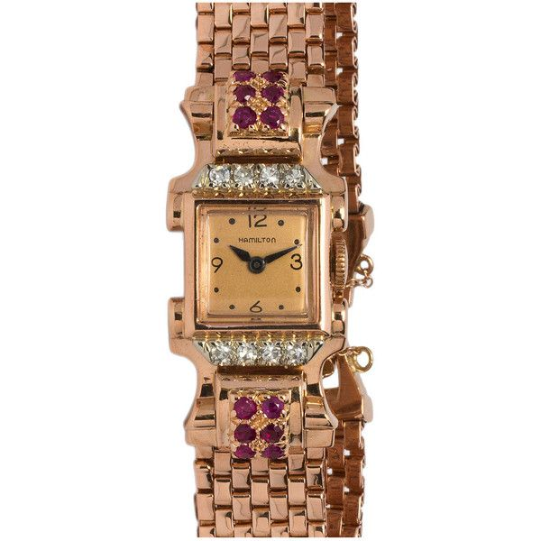 Pre-owned Hamilton Lady's Rose Gold Ruby and Diamond Dress Model... ($2,850) ❤ liked on Polyvore featuring jewelry, watches, wrist watches, chain watches, engraved jewelry, pre owned watches, rose gold jewelry and ruby jewelry