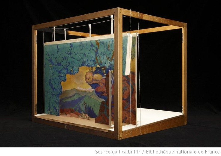 """La légende de Saint-Christophe : Tableau 5 : """"Le roc surplombant"""" : maquette de décor en volume / Maurice Denis, 1920"""