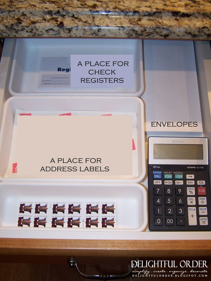 """""""Tips for setting up a Kitchen Command Center"""" So it isn't immediately or obviously funny until you ask yourself, """"Envelopes? Postage stamps? Address labels? CHECKS....like, needing a pen to paper register? What year is it?!"""""""