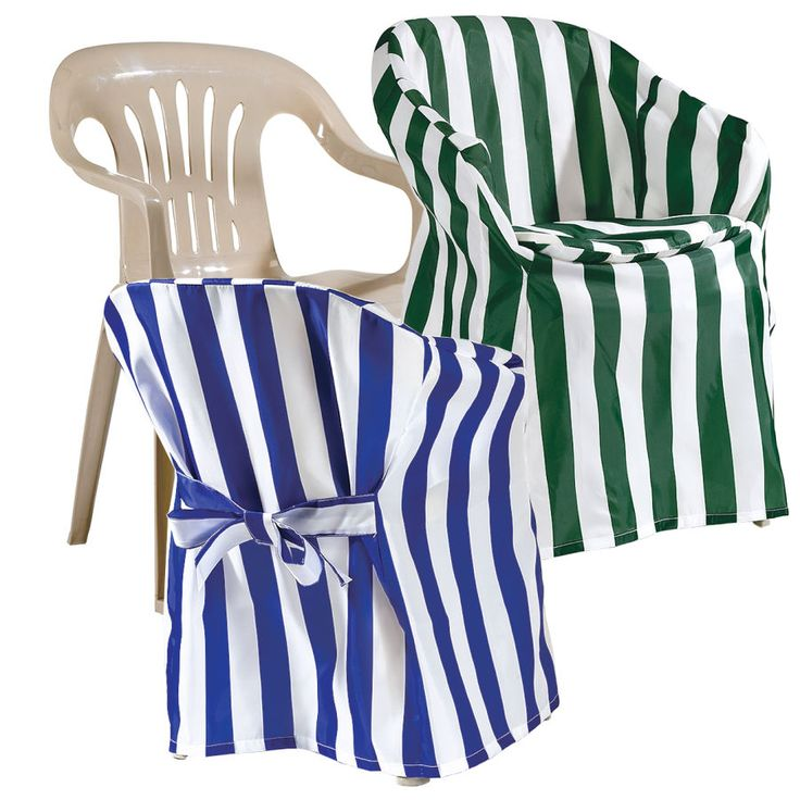 "Outdoor Chair Covers - Give ordinary plastic chairs a designer look, help them stay clean and last longer, too. Slip the striped covers over any 24"" armchair and adjust the back tie and bow for a perfect fit. The matching padded seat cushion (included) adds extra comfort. Heavy-duty, machine wash-and-dry polyester. Please specify Blue or Green. Just 12 dollars each!"