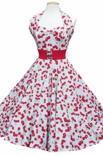 50s Retro Jurken halter Cherry White polka dots swing dress