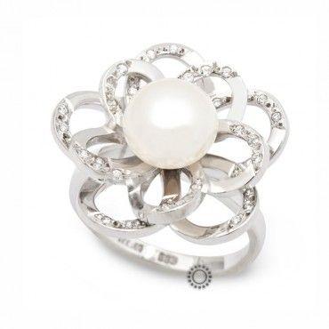 Μεγάλο γυναικείο δαχτυλίδι λουλούδι λευκόχρυσο Κ14 με λευκό μαργαριτάρι και ζιργκόν στα πέταλα   Κοσμηματοπωλείο ΤΣΑΛΔΑΡΗΣ στο Χαλάνδρι #λουλουδι #μαργαριταρι #ζιργκον #δαχτυλίδι